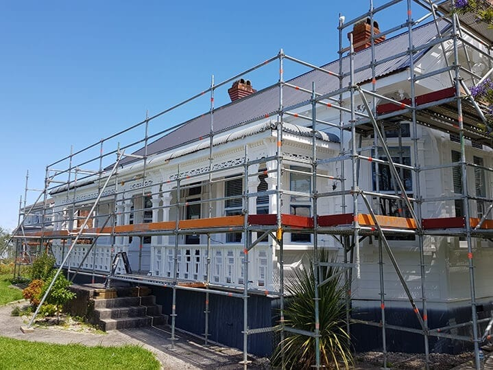 scaffolding on house